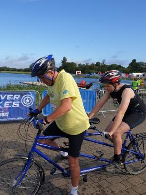 Tom & his Dad set off on the tandem bike leg